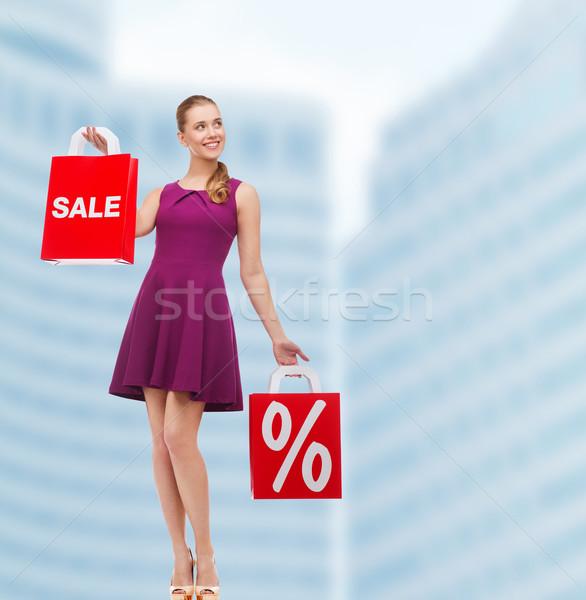 Genç kadın mor elbise yüksek topuklu güzellik moda Stok fotoğraf © dolgachov