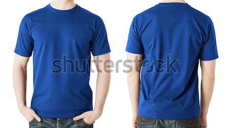 Foto d'archivio: Uomo · blu · tshirt · fronte · vista · posteriore · abbigliamento