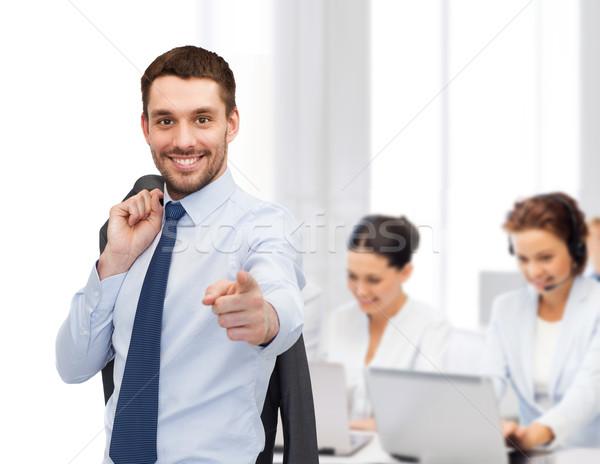 élégant veste épaule affaires bureau pointant Photo stock © dolgachov