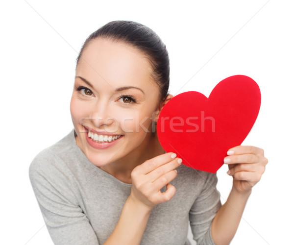 улыбаясь азиатских женщину красный сердце счастье Сток-фото © dolgachov