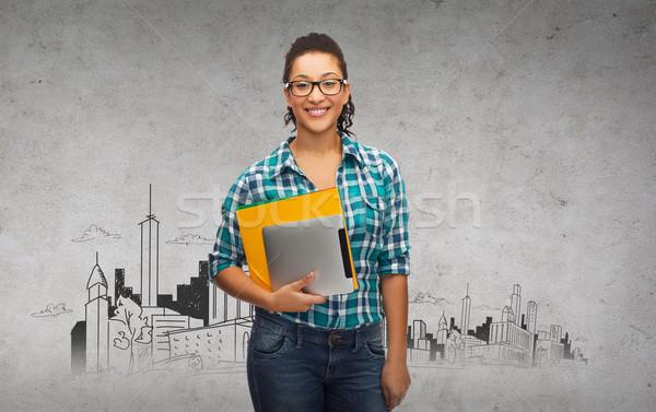 Stok fotoğraf: öğrenci · gözlük · klasörler · eğitim · teknoloji