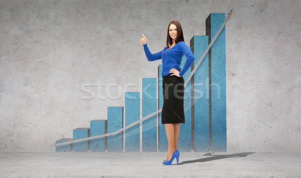 Sonriendo mujer de negocios negocios financieros Foto stock © dolgachov