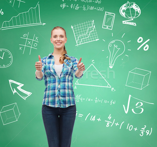 Stockfoto: Glimlachend · student · meisje · tonen · onderwijs