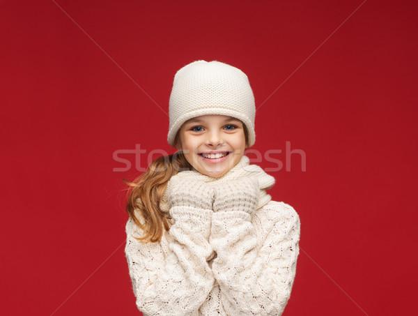 少女 帽子 マフラー 手袋 冬 人 ストックフォト © dolgachov
