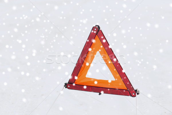 Waarschuwing driehoek sneeuw vervoer winter Stockfoto © dolgachov