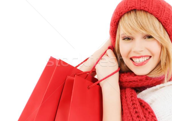 Zdjęcia stock: Uśmiechnięty · młoda · kobieta · szczęścia · zimą · wakacje