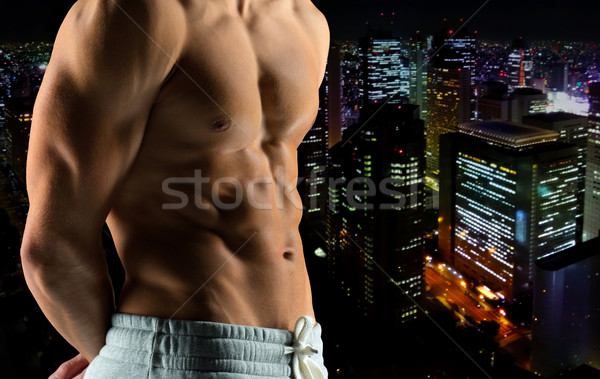 Közelkép férfi testépítő meztelen törzs sport Stock fotó © dolgachov