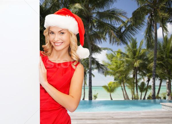 Stockfoto: Glimlachend · jonge · vrouw · hoed · winter