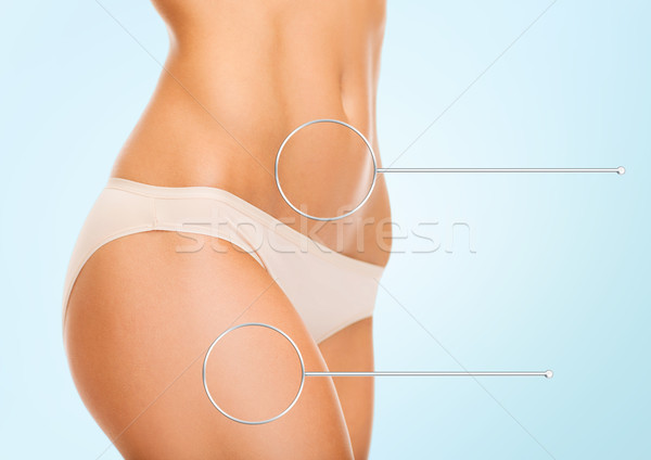 close up of woman hips and torso with magnifier Stock photo © dolgachov