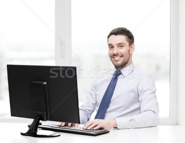 Mosolyog üzletember diák számítógép iroda üzlet Stock fotó © dolgachov