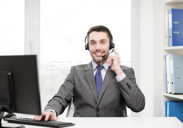 телефон доверия оператор наушники компьютер бизнеса связи Сток-фото © dolgachov
