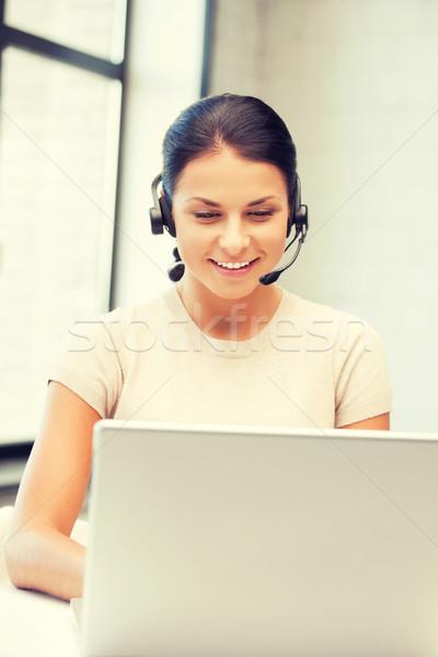 Helpline operatore computer portatile foto business donna Foto d'archivio © dolgachov
