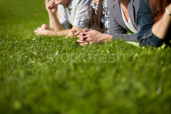 close up of students or teenagers hanging out Stock photo © dolgachov