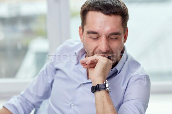 Moe man kantoor aan huis mensen vermoeidheid Stockfoto © dolgachov