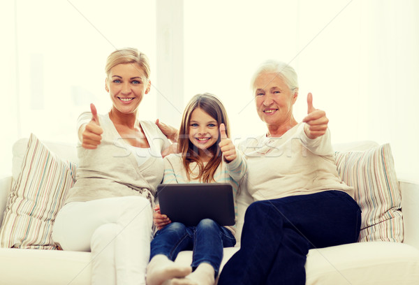 Sonriendo familia casa generación tecnología Foto stock © dolgachov