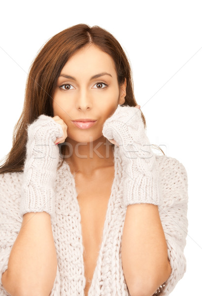 Stock photo: beautiful woman in mittens