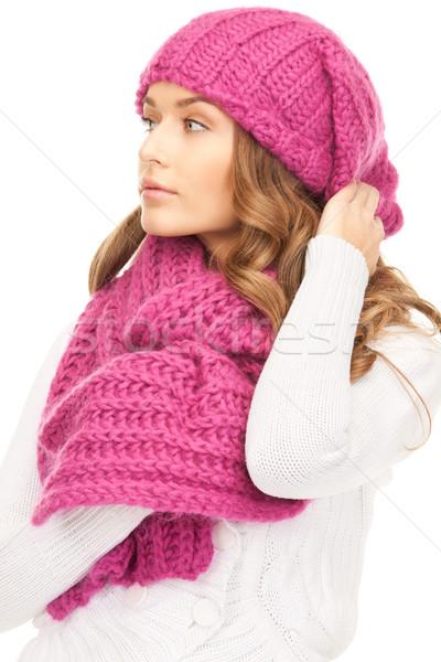 Gyönyörű nő tél kalap kép nő arc Stock fotó © dolgachov