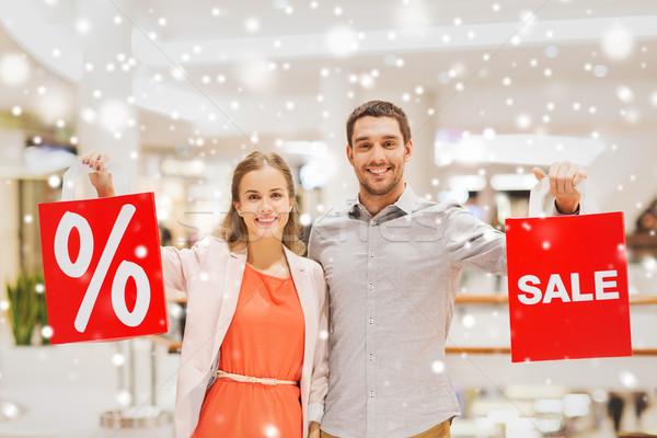 Gelukkig Rood mall verkoop Stockfoto © dolgachov