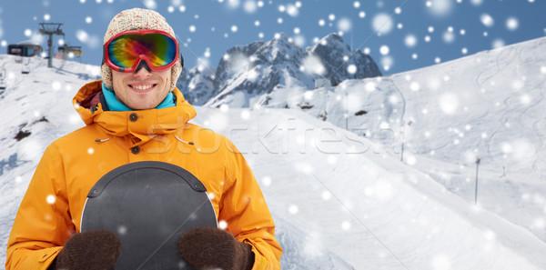 幸せ 若い男 山 冬 レジャー ストックフォト © dolgachov