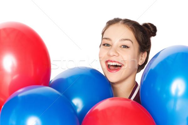 幸せ 十代の少女 ヘリウム 風船 人 代 ストックフォト © dolgachov