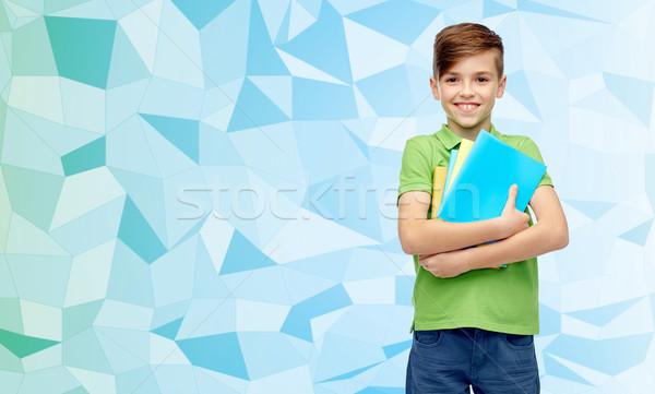 Stock fotó: Boldog · diák · fiú · mappák · jegyzetfüzetek · gyermekkor
