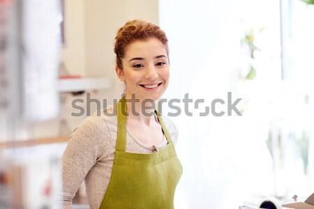 笑みを浮かべて 花屋 女性 植木屋 花屋 人 ストックフォト © dolgachov