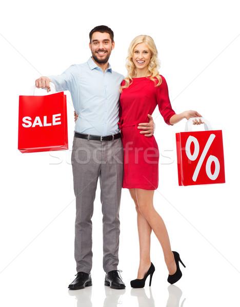 Foto stock: Feliz · casal · vermelho · pessoas · venda
