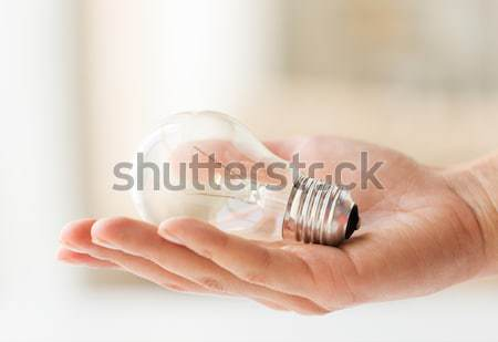 close up of hand holding edison lamp or lightbulb Stock photo © dolgachov