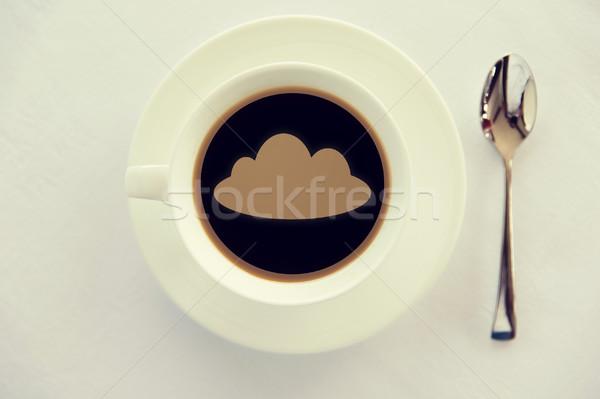 Cup caffè nube silhouette cucchiaio bevande Foto d'archivio © dolgachov