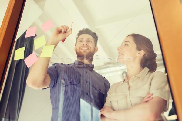 Boldog kreatív csapat ír iroda üveg Stock fotó © dolgachov