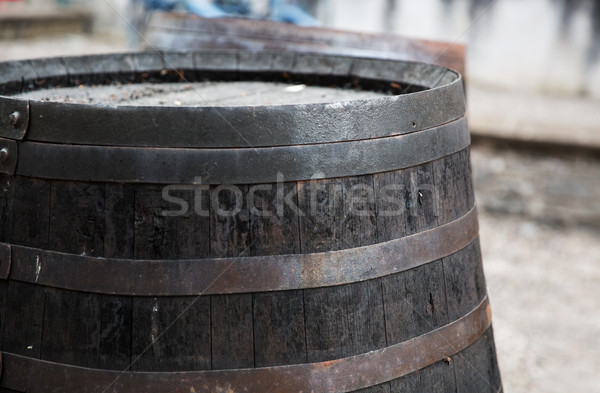close up of old wooden barrel outdoors Stock photo © dolgachov