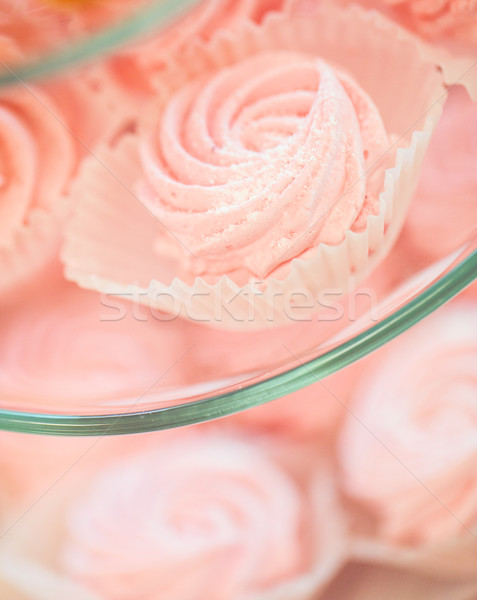 close up of sweet custard dessert on serving tray Stock photo © dolgachov