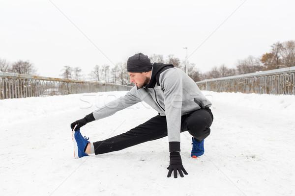человека ногу зима моста Сток-фото © dolgachov