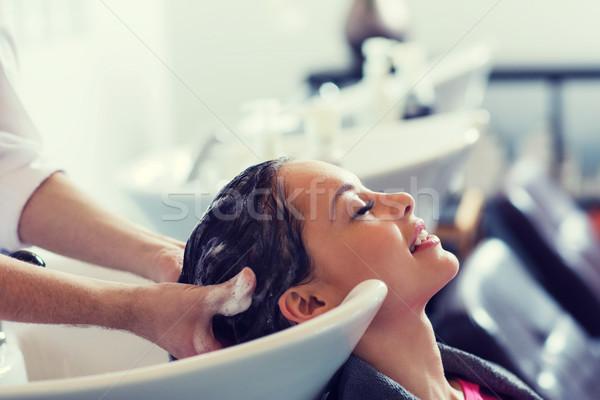 幸せ 若い女性 美容院 美 人 ヘアドレッサー ストックフォト © dolgachov