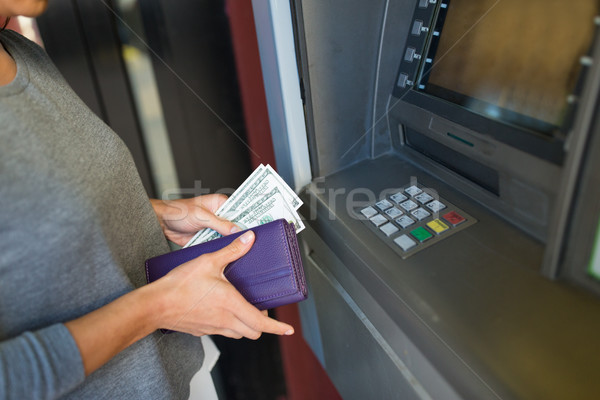 close up of hand withdrawing money at atm machine Stock photo © dolgachov