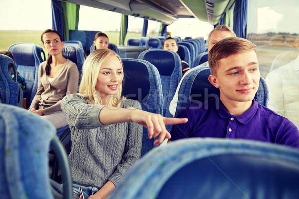 ストックフォト: グループ · 観光客 · 旅行 · バス · 輸送 · 観光