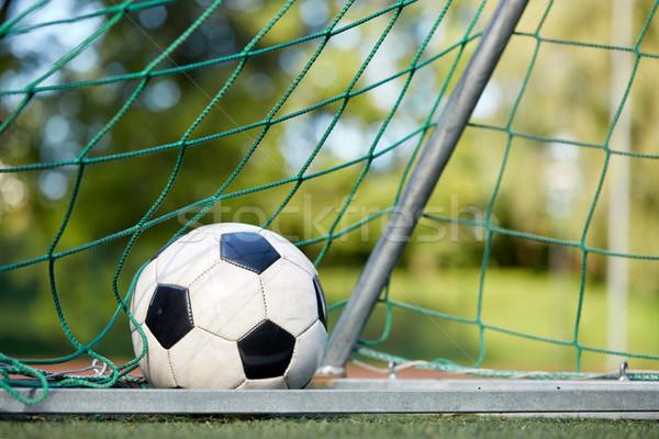 Futballabda gól net futballpálya sport futball Stock fotó © dolgachov