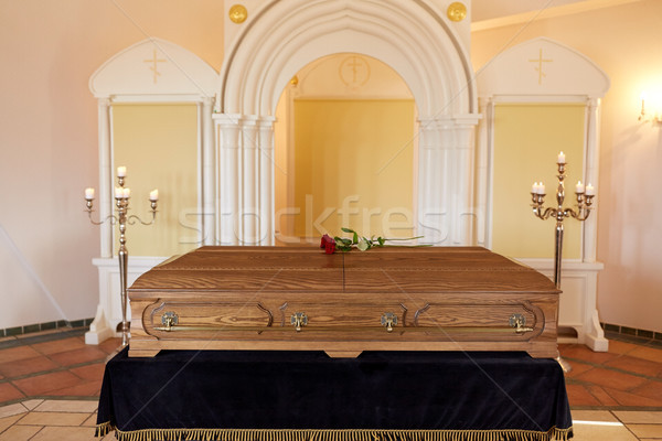 coffin at funeral in orthodox church Stock photo © dolgachov