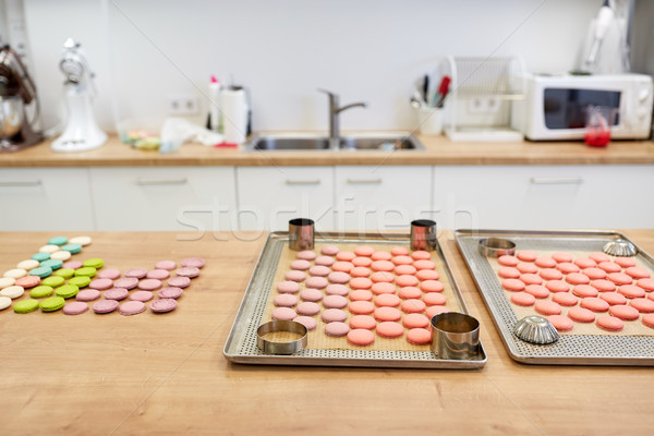 macarons on oven trays at confectionery Stock photo © dolgachov
