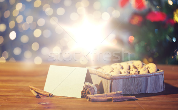 close up of christmas oat cookies on wooden table Stock photo © dolgachov