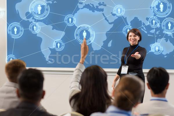 Grupy ludzi działalności konferencji wykład globalny sieci Zdjęcia stock © dolgachov