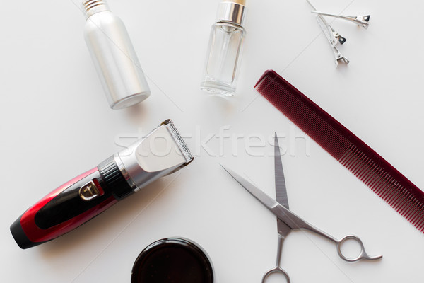 styling hair spray, trimmer and scissors Stock photo © dolgachov