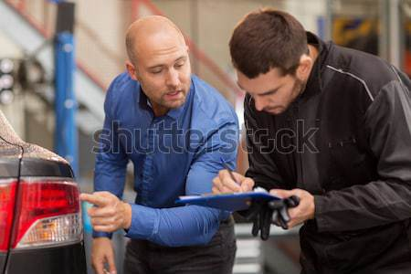 customer and salesman at car service or auto store Stock photo © dolgachov