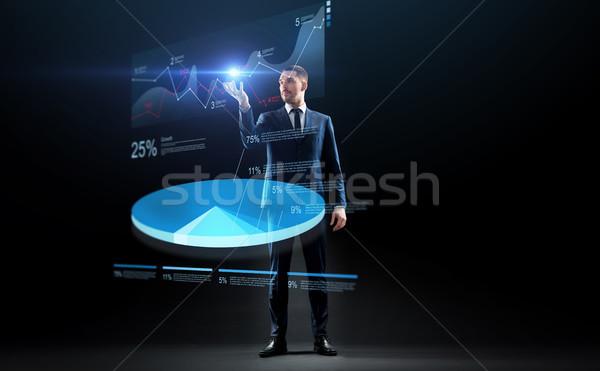 ビジネスマン スーツ 作業 バーチャル 円グラフ ビジネスの方々 ストックフォト © dolgachov