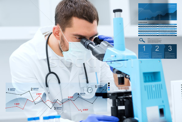 doctor with microscope in clinical laboratory Stock photo © dolgachov