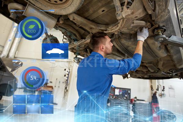 mechanic man or smith repairing car at workshop Stock photo © dolgachov