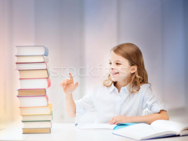 happy smiling student girl counting books Stock photo © dolgachov