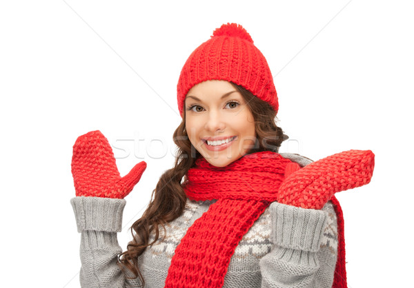 美人 帽子 マフラー ミトン 明るい 画像 ストックフォト © dolgachov