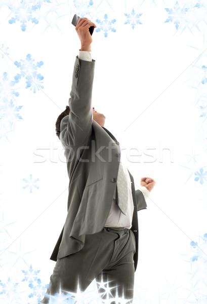 прорыв счастливым бизнесмен сотовый телефон телефон Сток-фото © dolgachov