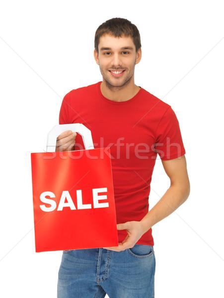 Man foto knappe man gelukkig witte Stockfoto © dolgachov
